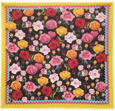 Dolce & Gabbana Floral-print Modal And Cashmere-blend Scarf - Black