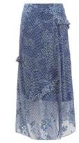 Preen by Thornton Bregazzi Maya Printed Satin-devore Midi Skirt - Womens - Blue