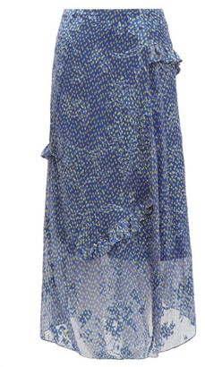 Preen by Thornton Bregazzi Maya Printed Satin-devore Midi Skirt - Blue