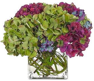 Hydrangea in Cube Vase - Faux - NDI - arrangement, purple; vessel, clear
