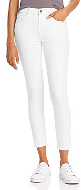 Frame Le Skinny High-Rise Ankle Skinny Jeans in Blanc