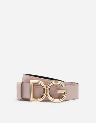 Dolce & Gabbana Reversible Dauphine Calfskin Belt With Logo