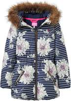 Joules Girls Belmont Print Waisted Padded Coat