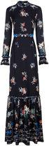 Vilshenko Black Floral Border Sinead Gown