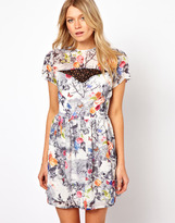 Love Skater Dress In Floral Print - Multi