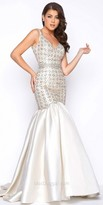 Mac Duggal Lattice Pastel Beaded Satin Mermaid Prom Dress