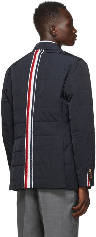 Thumbnail for your product : Thom Browne Navy Down RWB Stripe Sport Coat