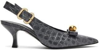 Erdem Ellory Crocodile-effect Leather Slingback Pumps - Womens - Grey
