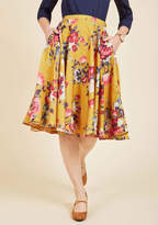ModCloth Ikebana for All A-Line Midi Skirt in Saffron Floral in XL