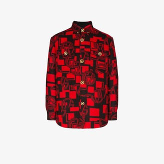 Versace GV logo button-down flannel shirt