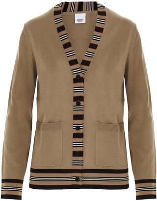 Burberry Icon Stripe V-Neck Cardigan