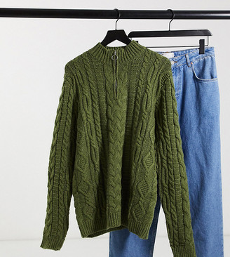 ASOS DESIGN Tall heavyweight cable knit half-zip jumper in khaki