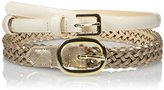 Nine West Women's 2 For 1 Braid and Patent Belt