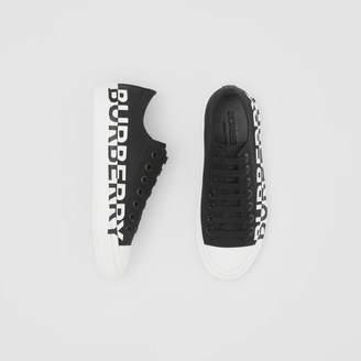 Burberry Logo Print Two-tone Cotton Gabardine Sneakers