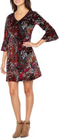 MSK 3/4 Bell Sleeve Paisley Shift Dress