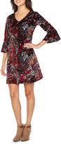 MSK 3/4 Bell Sleeve Velvet Shift Dress