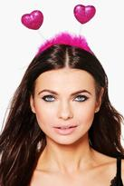 Boohoo Millie Glitter & Fluffy Heart Headband