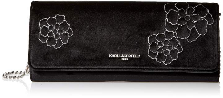 Karl Lagerfeld Paris Viola Velvet Embossed Clutch