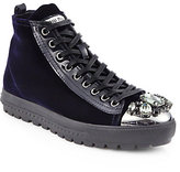 Miu Miu Velvet & Crystal High-Top Sneakers
