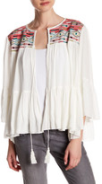 Romeo & Juliet Couture Woven 3/4 Length Embroidery Pattern Tassel Shirt