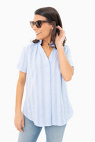 The Shirt By Rochelle Behrens Blue Stripe Short Sleeve Loose Back