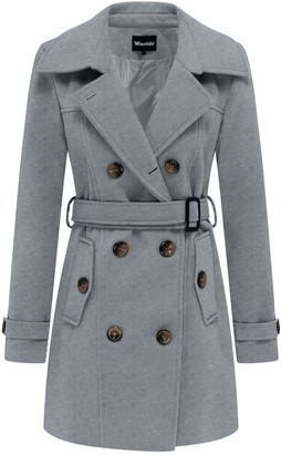 Wantdo Women's Elegant Winter Coat Wool Blend Peacoat Double-Breasted Coat Windproof Warm Coat Grey M