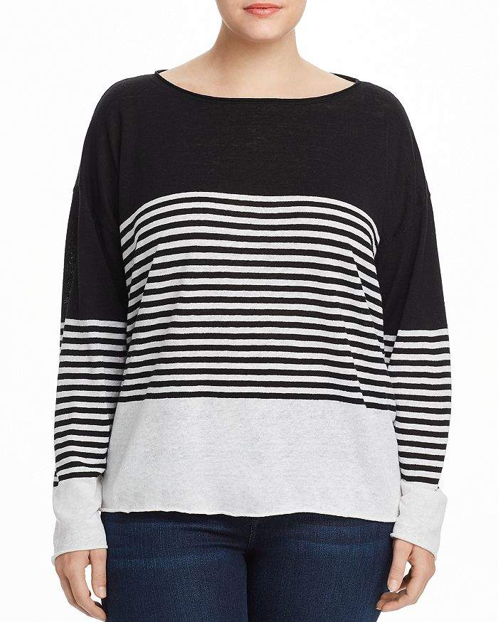 Eileen Fisher Plus Striped Boat-Neck Sweater