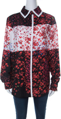 Preen Red Floral Print Crepe Button Down Shirt L