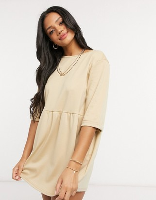 Street Collective drop waist mini dress in taupe