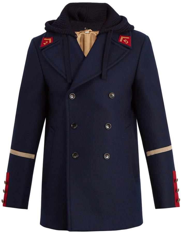 Gucci Caban detachable-hood wool coat
