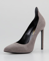 Yves Saint Laurent Paris Suede Peak-Back Point-Toe Pump