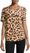 Equipment Riley Cheetah-Print Silk Tee, Nude Multi