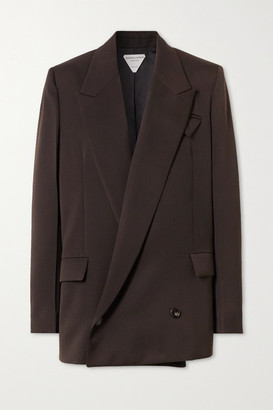Bottega Veneta Oversized Double-breasted Grain De Poudre Blazer - Brown