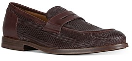 Geox Men's Bayle Moc Toe Woven Leather Penny Loafers