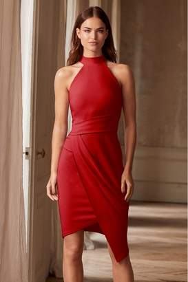 Lipsy Halter Neck Asymmetric Bodycon Dress - 10 - Red