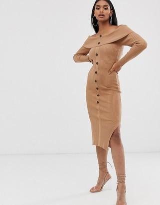 Asos DESIGN off shoulder midi dress with button detail