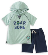 Kids Headquarters Baby Boys Roar Some Two-Piece Cotton-Blend Hoodie and Shorts Set