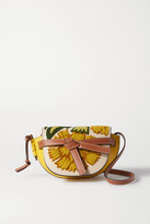 Loewe Gate Mini Embroidered Leather Shoulder Bag - Yellow