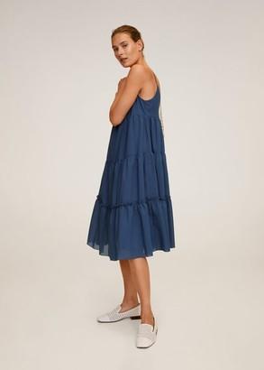 MANGO Ruffled midi dress ink blue - 2 - Women