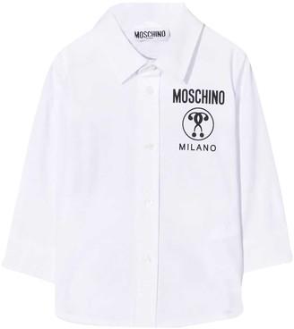 Moschino White Shirt With Black Logo Press
