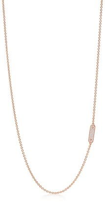 Tiffany & Co. Tag chain necklace in 18k rose gold with pave diamonds