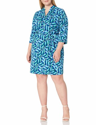 Donna Morgan Women's Stretch Knit Jersey Self-Tie Shirt Dress