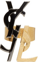 Saint Laurent Black and Gold Monogram Deconstructed Ring