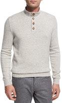 Ermenegildo Zegna Cashmere Button-Neck Pullover, White/Gray