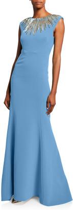 Zac Posen Embroidered-Neck Sleeveless Gown