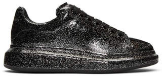 Alexander McQueen Black and Silver Glitter Oversized Sneakers