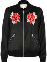 River Island Womens Black satin floral bomber jacket