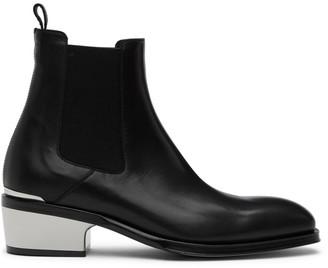Alexander McQueen Black Metal Heel Chelsea Boots