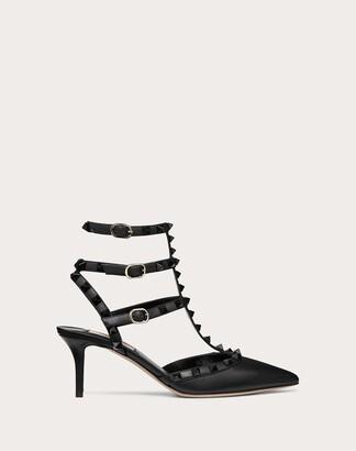 Valentino Rockstud Ankle Strap Calfskin Leather Pump With Tonal Studs 65 Mm Women Black Calfskin 100% 37.5