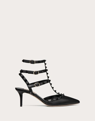 Valentino Rockstud Ankle Strap Pump With Tonal Studs 65 Mm Women Black Calfskin 100% 37.5